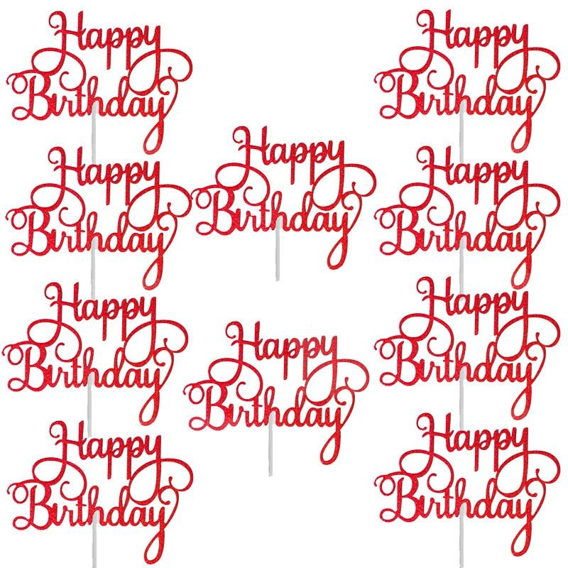 10pcs Gittler Happy Birthday Cake Topper Bling Sparkle Decoration Sign Happy Birthday Cake Topper Girl`s Birthday Dessert Decor 5