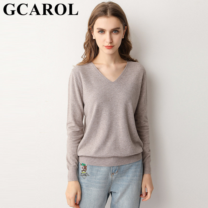 GCAROL 19 New Women 30 % Wool Sweater V Neck And O Neck Minimalist Knit Jumper OL Stretch Base OL Knitted Pullover 3XL