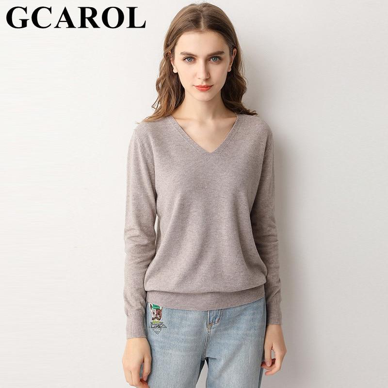 GCAROL 19 New Women 30 % Wool Sweater V Neck And O Neck Minimalist Knit Jumper OL Stretch Base OL Knitted Pullover 3XL