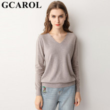 GCAROL 19 New Women 30 % Wool Sweater V Neck And O Neck Minimalist Knit Jumper OL Stretch Base OL Knitted Pullover 3XL marled mixed knit cutout neck jumper