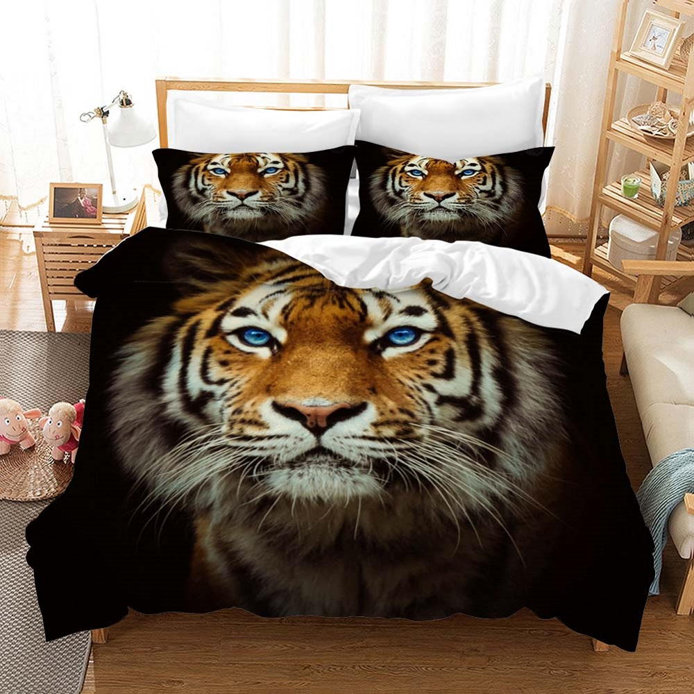 Animals Boys Comforter Set With Pillowcase Custom Tigar Bed Linen Set 100% Microfiber Duvet Cover Set Queen King Size Bedding