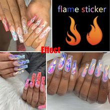 1Pc DIY 16 Styles Holographic Fire Flame Hollow Stickers Thin Laser Silver Stripe Nail Art Stickers Manicure Decoration(China)