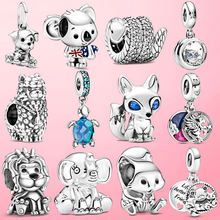 2021 925 Sterling Silver Turtle Fluffy Llama Snake Fox Dangle Charm ladybug Koala Beads Fit Original Pandora Bracelet Jewelry