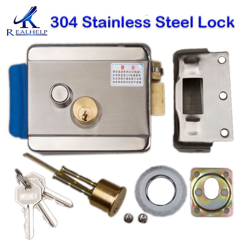 High Quality Electric Rim Lock Stainless Steel Electric Mortise Lock DC12V Electromechanical Lock Gate Locks With Deadbolt