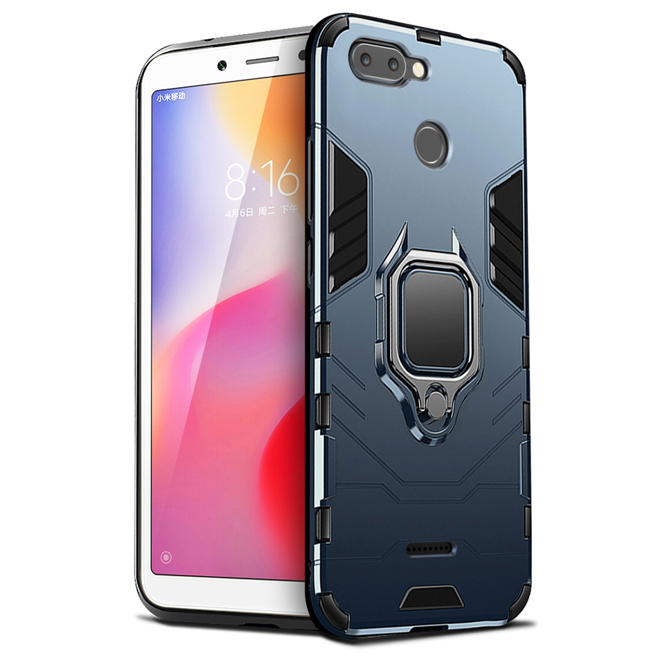 """ShockProof Armor Bumper Soft Silicone 5.45"""" Case For Xiaomi Redmi 6 Case For Redmi 6 Cell Phone Case redmi 6 cover with Car Ring"""