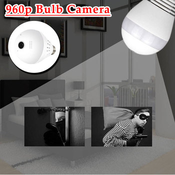 Fisheye Bulb Camera LED Lamp Camera  Home Security 960P 1.3MP 360 Degree Light Panoramic Wireless WiFi IP Camera CCTV  1.44mm ywssrc 360 degree panoramic wide angle mini cctv camera fisheye 960p 1080p security home wifi ip camera smart wireless ip camera