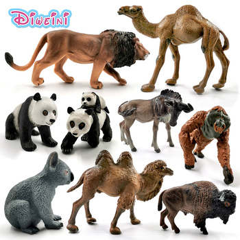 New American Bison Buffalo Cow Koala Donkey Wildebeest Orangutan Camel Lion animal model action figure Educational Gift Kids toy