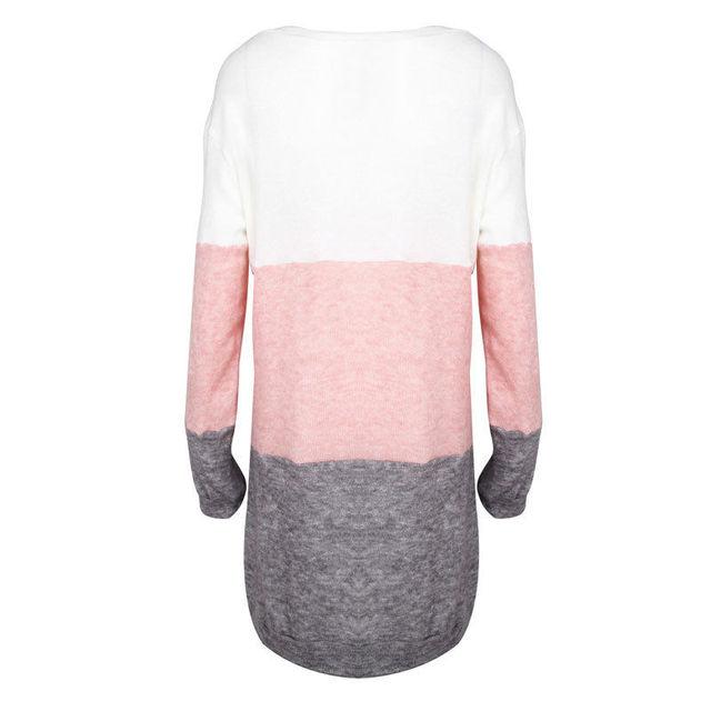 Fashion Autumn Women Knitted Sweater Long Sleeve O-Neck Loose Sweatshirt Pullover Long Top Mini Jumper Dress 5