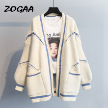 ZOGAA Women Casual Letter Print Knitted Cardigans Outwear 2019 Autumn Winter New Fashion Thick Sweaters Korean Style Top Coat(China)