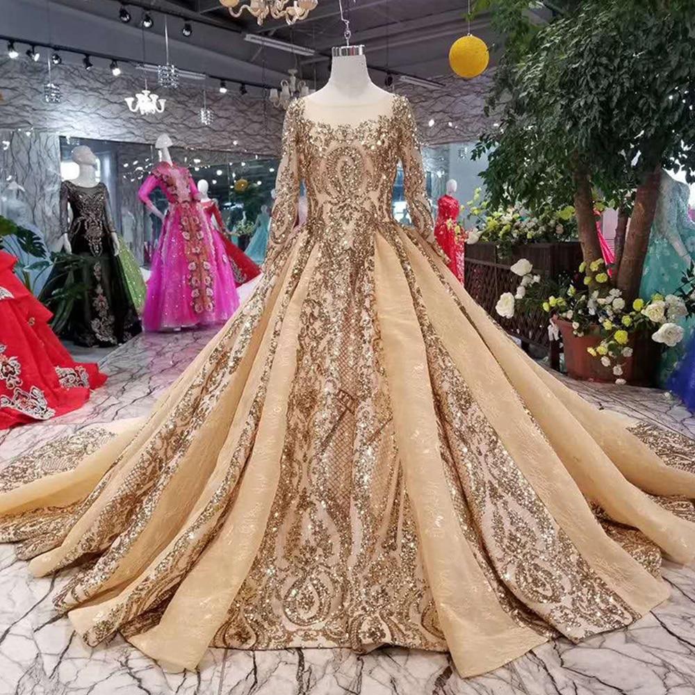 Glitz Gold Formal Evening Dress Long Sleeve Robe De Soiree Vestido Fiesta Gala Muslim Women Party Dress Luxury Evening Ball Gown
