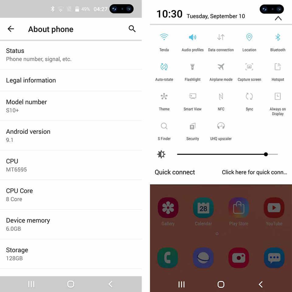S10 + Smartphone plein écran 6GB + 128GB 8 core Android 9.0 doigt visage ID double caméra 4G téléphone portable intelligent combiné