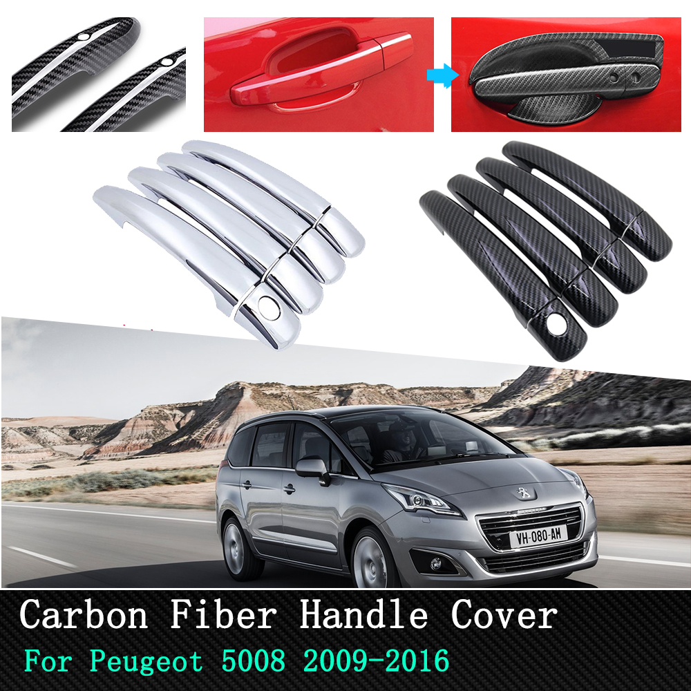 Car Exterior Outside Door Handle Cover Front Rear Carbon/<font><b>Chrome</b></font> For <font><b>Peugeot</b></font> 5008 2008 2009 2010 2011 2012 2013 2014 2015 2016 image