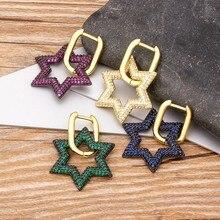 2020 New Arrival 4 kolor do wyboru miedzi CZ gwiazda spadek kryształ Dangle kolczyki grzywny wesele boże narodzenie kobiety biżuteria prezenty