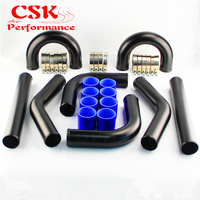 3 76mm Universal 8PCS Turbo Intercooler Pipe Piping 76mm + Silicone Hose T Clamps Kit