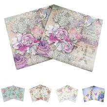 20 piezas 33*33cm flor lirio cóctel rojo más blanco vintage servilletas de papel decoupage cumpleaños boda suministro para decoración de fiesta