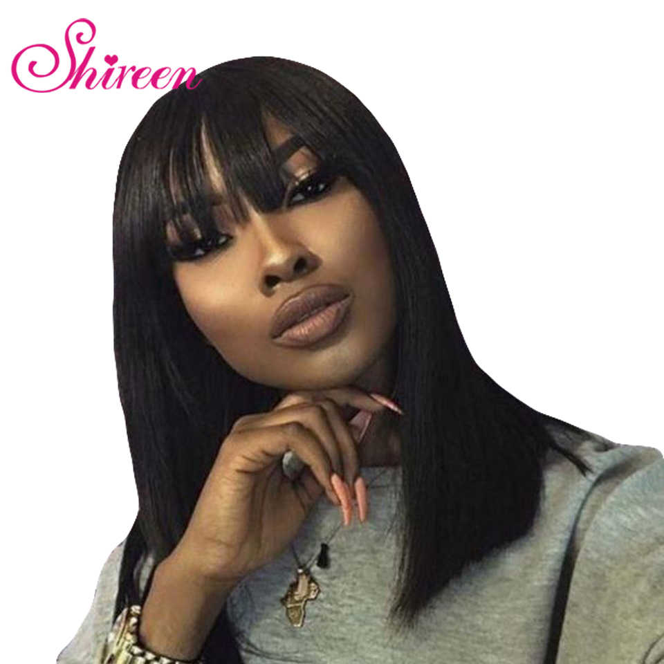 Shireen Peruvian Straight Bob Human Hair Wigs With Bang Pre Plucked Full Machine Made Glueless Remy Human Hair Bob Wig For Woman