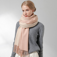 Winter 100% Wool Scarf For Women Light Pink Cashmere Wool Shawls and Wraps Ladies Russia Fringes Warm Big Wool Blanket Scarves