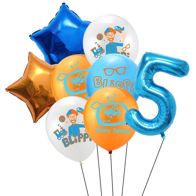 8 шт Blippi Фольга Шар 32 дюймов синий номер латексные воздушные шары с днем рождения Свадебная вечеринка украшения поставки детского дня рождения-4