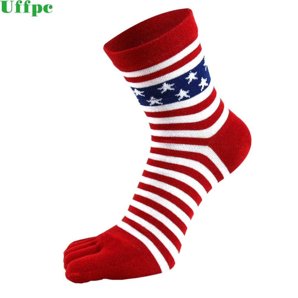 1 пара, мужские летние хлопковые носки с пальцами, полосатые контрастные Цветные Лоскутные мужские носки с пятью пальцами, свободный размер, Новинка