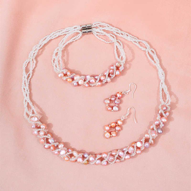 Daimi 5-6mm natural conjuntos de jóias pérola de água doce artesanal colar brincos pulseira para presente de noiva feminino