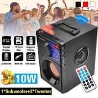 2.1 sistemi Stereo taşınabilir bluetooth'lu hoparlör hoparlör FM radyo uzaktan kumanda ses kutusu bas Subwoofer USB/ TF kart/AUX çin'de