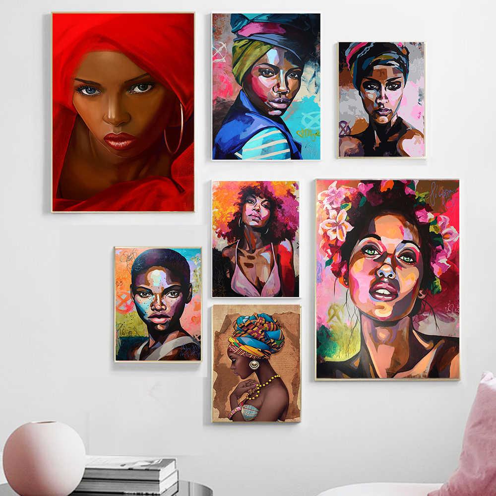أفريقيا حائط لوح رسم الفن اللوحة صور الملصقات والمطبوعات امرأة سوداء على قماش ديكور المنزل جدار صور غرفة المعيشة الرسم والخط Aliexpress