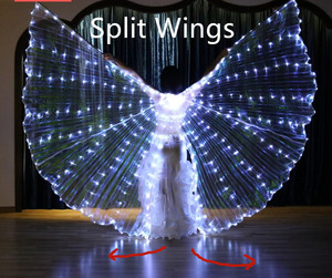Image 3 - Women White Costume Angel LED Isis Wing With Sticks  Golden Colorful Bellydance Costume Accessory 360 Open Free Shipping