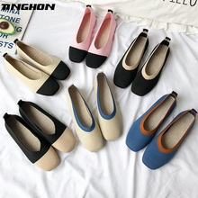 TINGHON  Women Slip On Flat Loafers Square Toe Shallow Ballet Flats Shoes knitting Casual Flat Shoes Ballerina Flats 6Colors tinghon spring women flats pointed toe slip on ballet flat shoes shallow boat shoes woman loafer ladies shoes zapatos