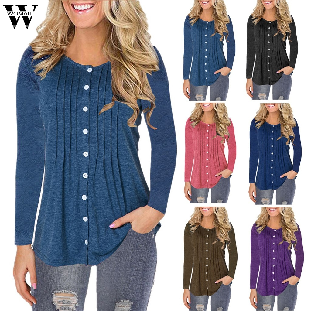 Womail T-shirts Women 2019 Autumn Fashion Button Tops Long Sleeve Basic Office Work T-shirt Femme Pullover Loose S-5XL 726