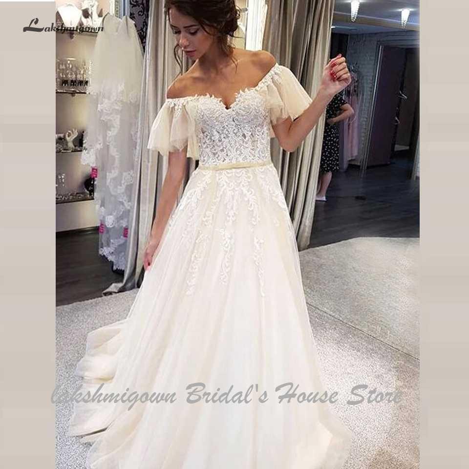 Lakshmigown princesa a linha tule vestidos de casamento fora do ombro vestido novia 2019 praia vestido de casamento boho rendas apliques