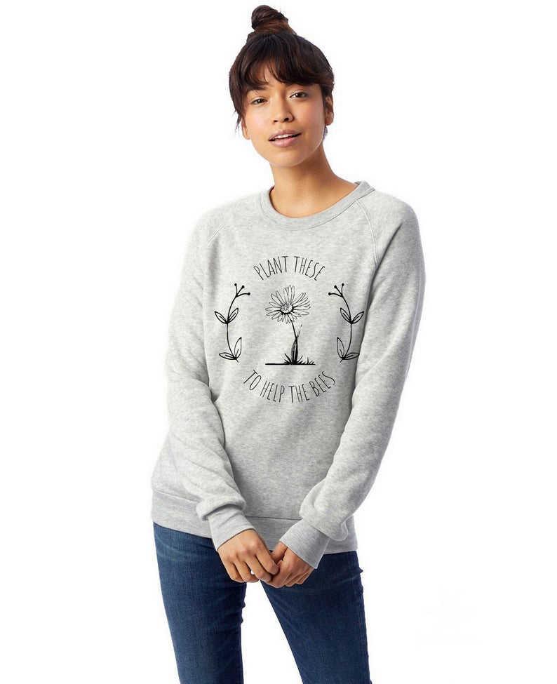 Śmieszne rośliny te, aby pomóc pszczołom bluza czystej bawełny kobiet swetry swetry graficzne Hipster Unisex stroje Grunge cytat Top