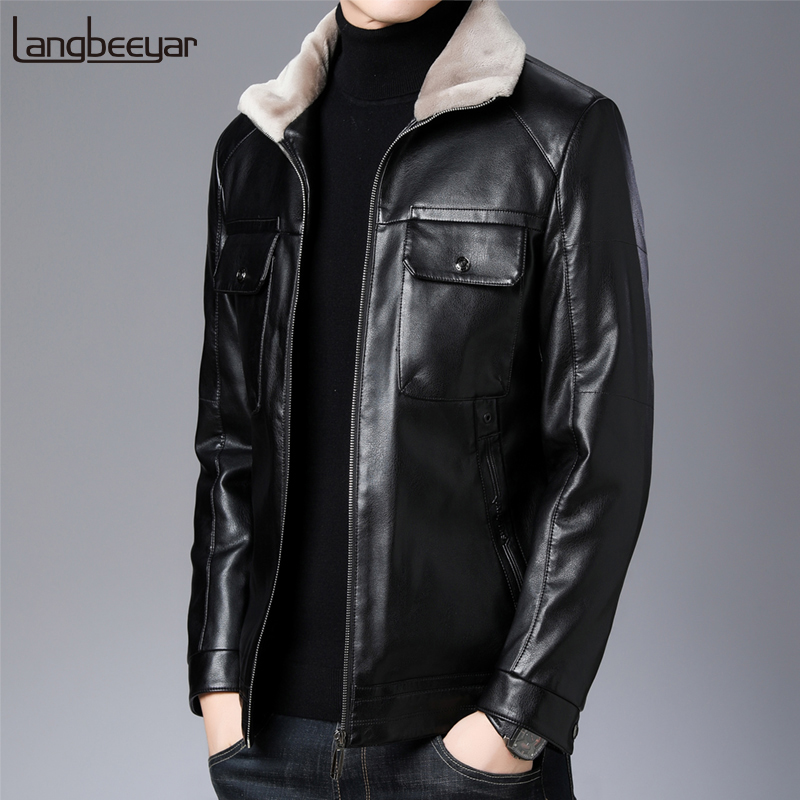 2019 Top Grade Warm Winter Fashions Brand Leather Down Jackets Mens Waterproof Korean Streetwear Feather Coats Men Clothes