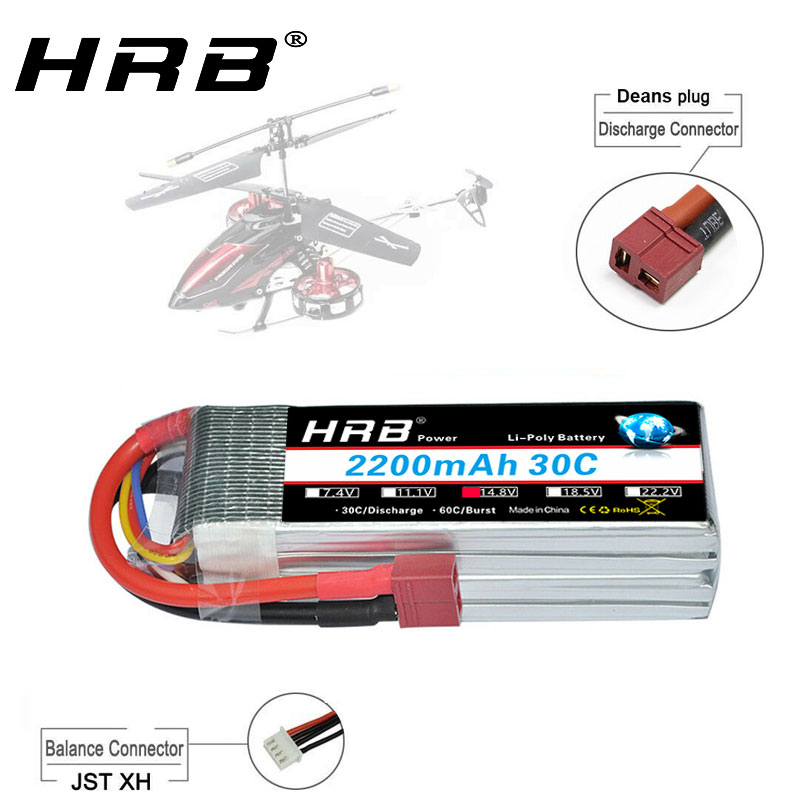 HRB 4s Lipo <font><b>14.8v</b></font> <font><b>2200mah</b></font> 30C Lipo <font><b>Battery</b></font> 60C with Deans T plug for RC Car Helicopter Boat Quadcopter tanks Drones Airplane image