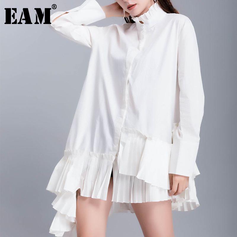 [EAM] Women White Hem Pleated Asymmetrical Blouse New Stand Collar Long Sleeve Loose Fit Shirt Fashion Spring Autumn 2020 JR944