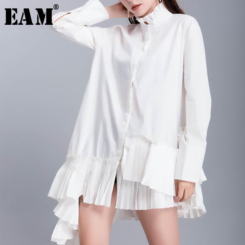 [EAM] Women White Hem Pleated Asymmetrical Blouse New Stand Collar Long Sleeve Loose Fit Shirt Fashion Spring Autumn 2020 JR944