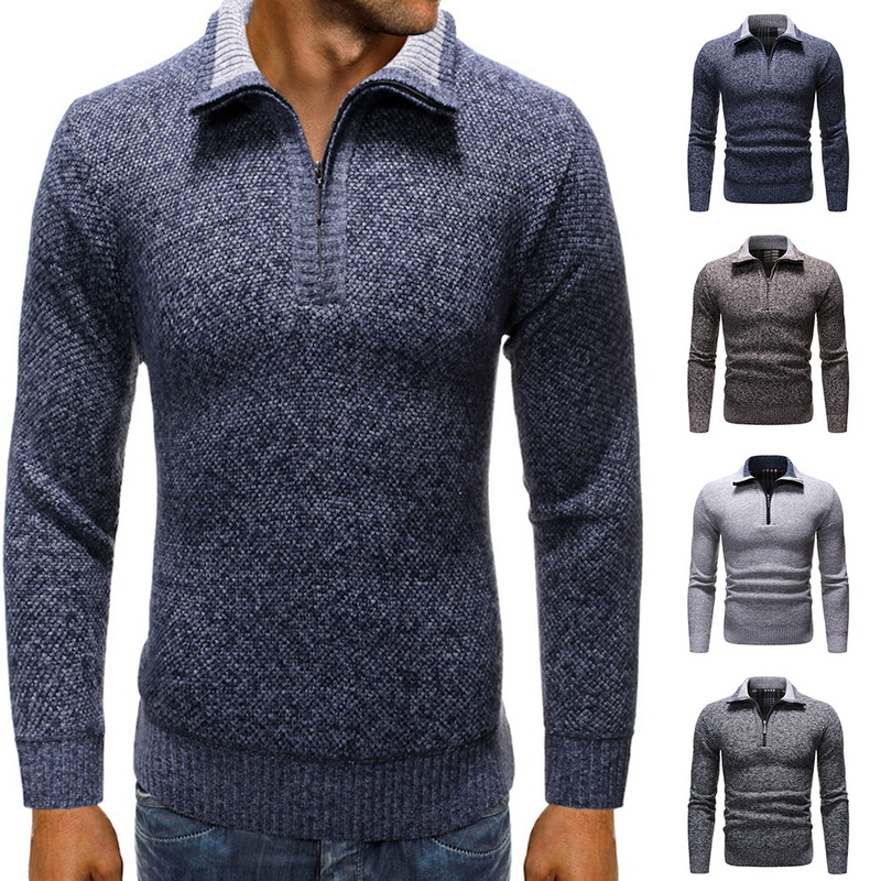 Monerffi Mens Sweater Pullover Knitwear Warm Male Winter Casual Wool Solid Collar Zip-Stand