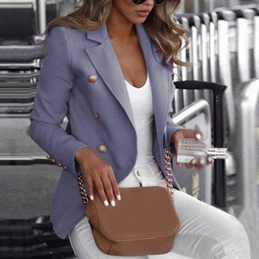 Women Chic Blazer Women Clothes 2019 Dames Blazers Jasje Double Button Long Sleeve Slim Blazer White Black Office Ladies Wear