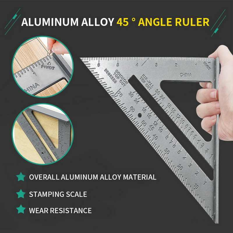 Tulead Triangle Square 7-Inch Carpenter Square Aluminum Alloy Measuring Square Carpenter Tool with Clear Scales