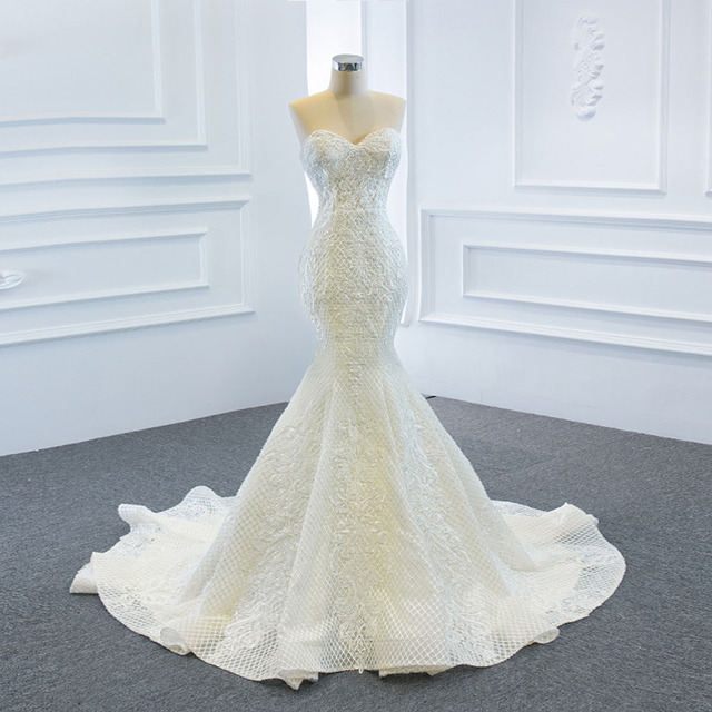 2021 New Arrivals 2 Pieces Pearls Lace Mermaid Wedding Dress With Detachable Chapel Train Vestido De Noiva Sereia 2 Em 1 4