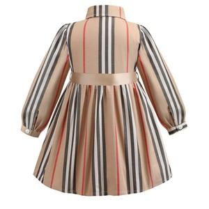Image 3 - 女の子ドレス長袖 2020 春子供ドレスガールズストライプボウ子供幼児のためのガール服 2 6Years