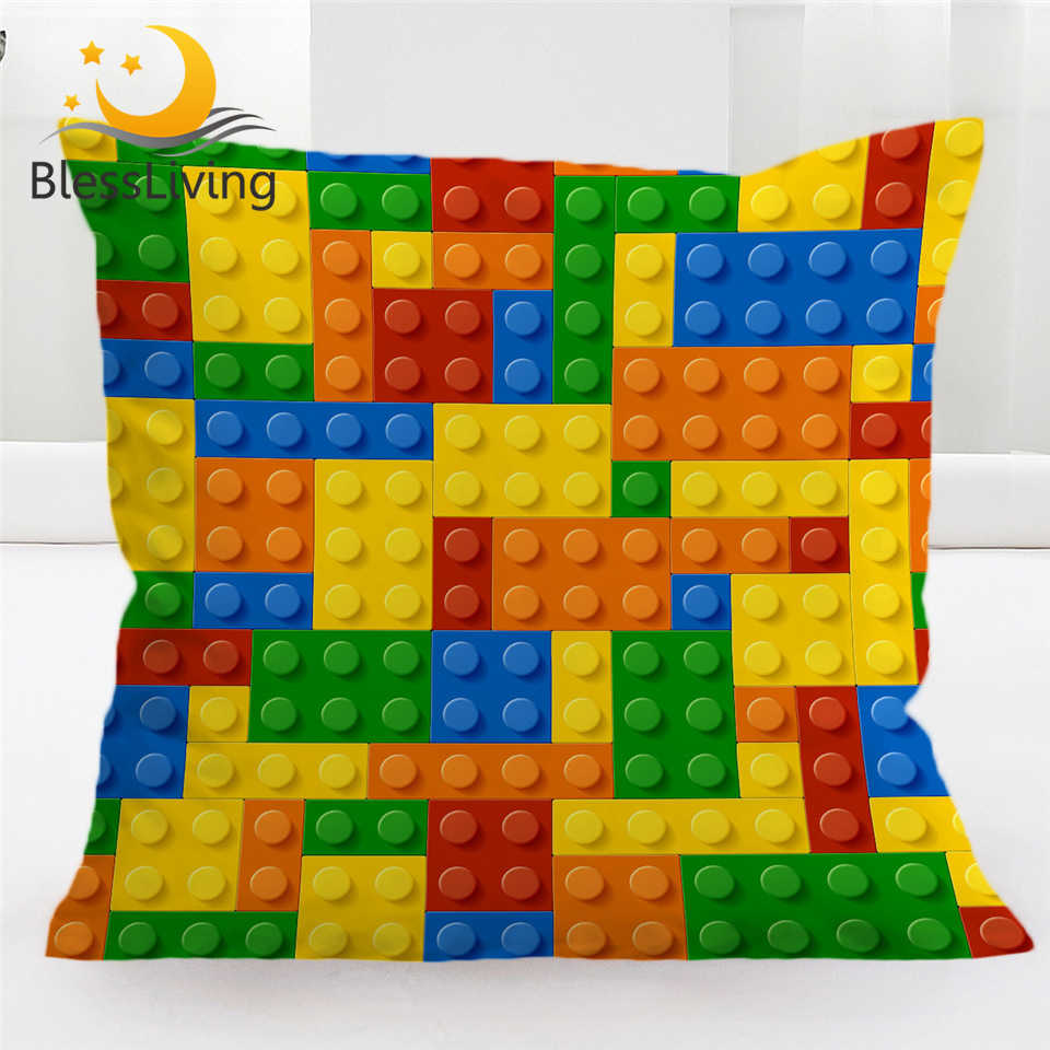 BlessLiving Toy Print Cushion Cover Dot Building Blocks Pillow Case 45*45 Colorful Bricks Game Pillow Cover Home Funda Cojin