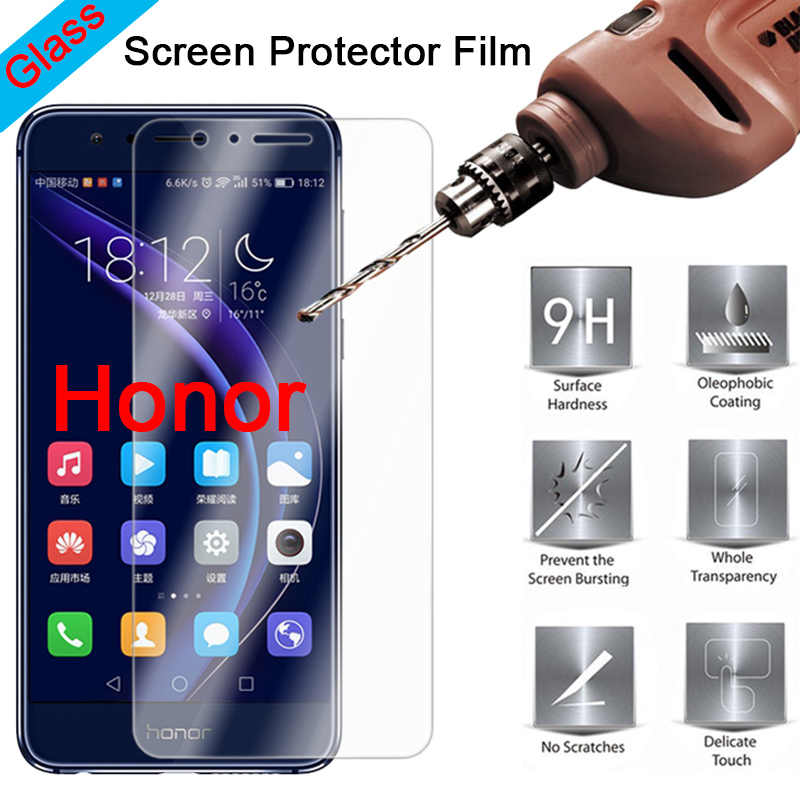 Screen Protector for Honor 8 Pro 8C 7S 7 Lite 6 Transparent 9H HD Tempered Glass Protective Glass on Huawei Honor Note 10 8