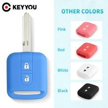 KEYYOU – housse de clé télécommande en Silicone, 2 boutons, pour Nissan Qashqai Micra Navara Note x-trail Almera