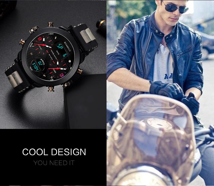 IsMyStore: BOAMIGO 3 Time Zone Military Sports Watches LED Digital Quartz Wristwatches erkek kol satleri relogio masculino
