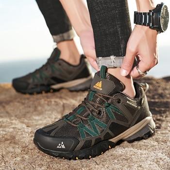 HIKEUP 2020 Summer Men Hiking Shoes Mesh Fabric Mountain Climbing Shoes Outdoor Trekking Sneakers Fishing Hunting Boots For Men 3