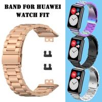 Pulseira de metal para huawei relógio ajuste cinta aço inoxidável metal pulso loop substituição para huawei ajuste TIA-B09 banda ajustável