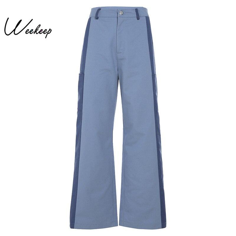 Weekeep Women Patchwork High Waist   Pants   Streetwear Button   Wide     Leg     Pants   2019 Fashion Trousers Women