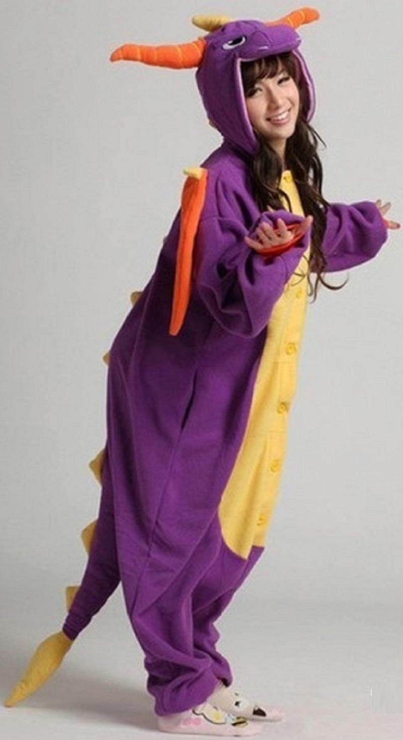 Men Child Women Onesies Spyro Dragon Pajamas Adult Purple Animal Kigurumi Party Funny Jumpsuit Winter Warm Unisex Sleepwear Suit