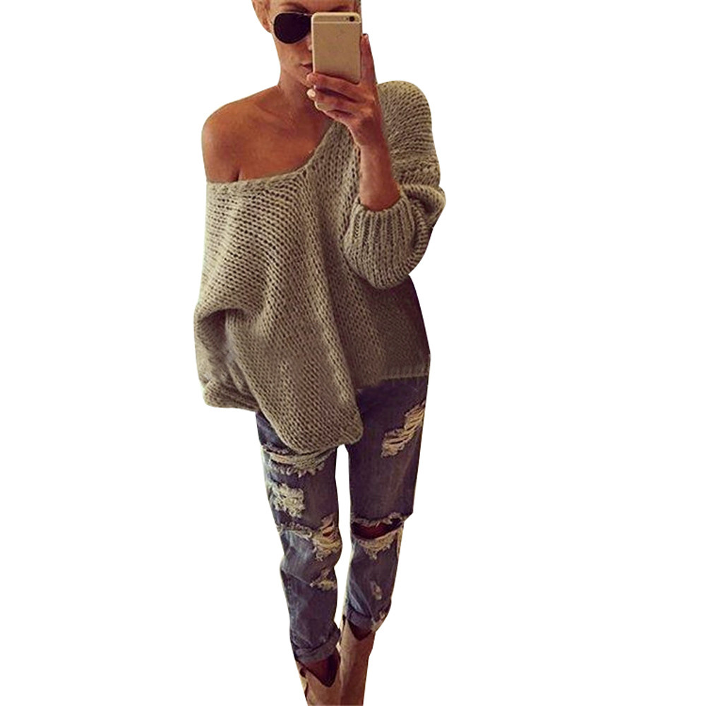 2020 V Neck Solid Women Sweaters Women Long Sleeve Knitted Pullover Loose Sweater Jumper Tops Knitwear