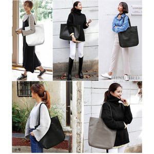 Image 5 - Genuine Leather Bag Women Casual Tote Female Luxury Simple Fashion Handbag Lady Cowhide Leather Daily Use Shoulder Shopping Bag